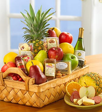 Fruit, Nuts, and Cheese and Crackers Gift Basket