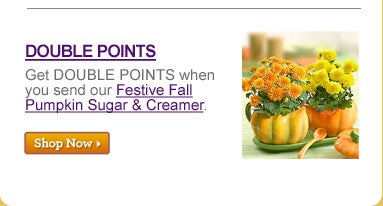 DOUBLE POINTS Get DOUBLE POINTS when you send our Festive Fall Pumpkin Sugar & Creamer. >>SHOP NOW