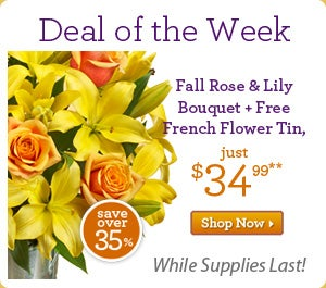 Deal of the Week Fall Rose Bouquet + Free French Flower Tin, jus $34.99 >>Shop Now While Supplies Last! Save over 35%