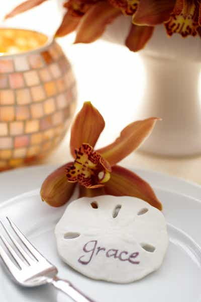 Sand Dollar Place Cards and Orchid