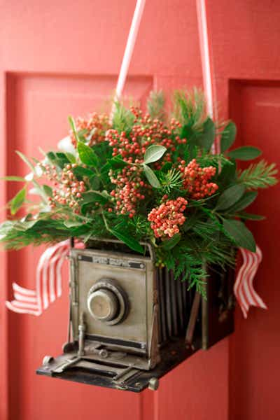 Pink Flower and Camera Wreath