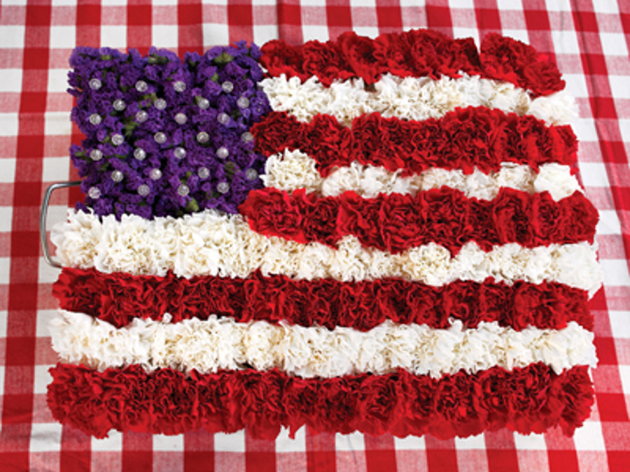 American flag made with fresh flowers