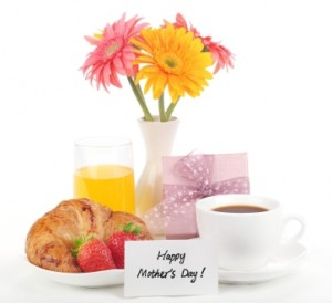 mothers day breakfast with flowers and card