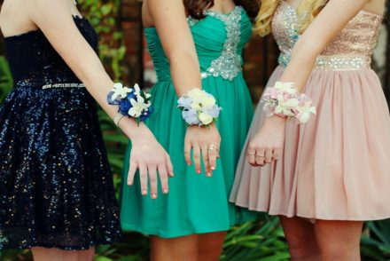 Three girls with corsages