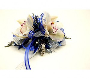 unique blue and white prom corsage