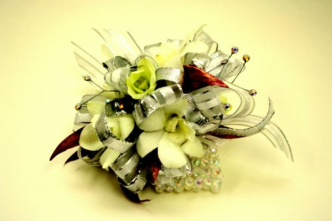 orchid prom corsage with riboons
