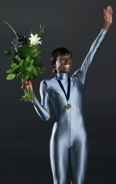 Gold Medal Olympian with Olympic Bouquet
