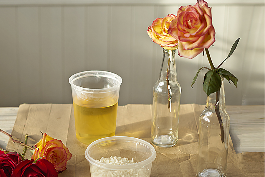 Cool your wax rose upright in a vase or bottle