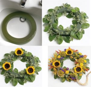 Step-by-step instructions on how to create a sunflower wreath