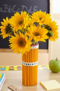 sunflowers in a pencil vase