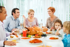 Family Talking During Thanksgiving Dinner
