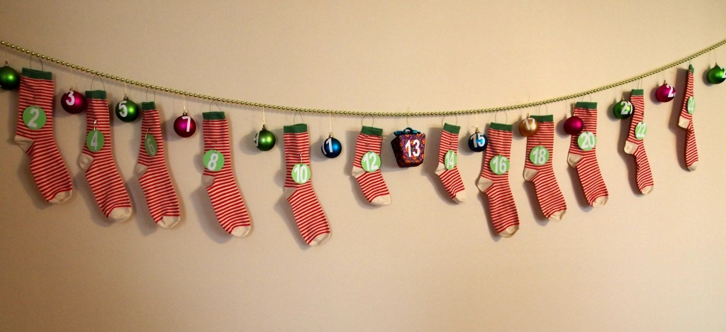DIY Advent Calendar With Christmas Ornaments and Socks