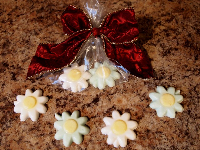 DIY Flower Soap Wrapped in a Plastic Bag and Tied With a Festive Bow