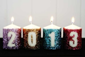 DIY Glitter New Year's Candles Decoration From Celebrations.com