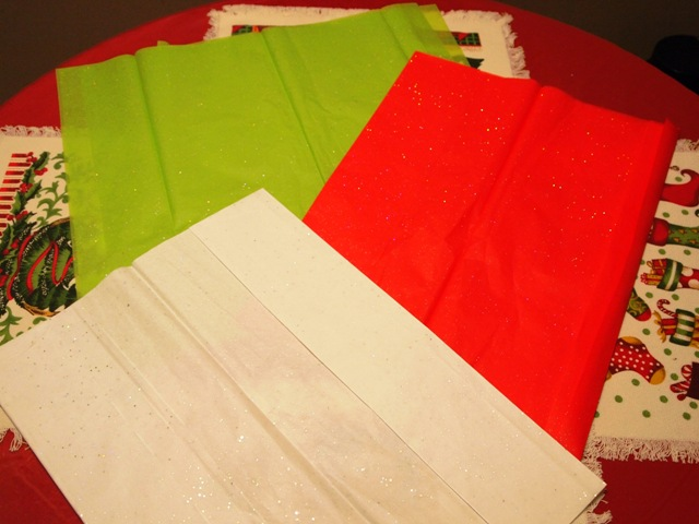 Stacked piles of Christmas Tissue Paper