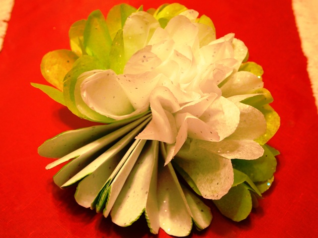 Half-Ruffled Tissue Paper Flower Ornament
