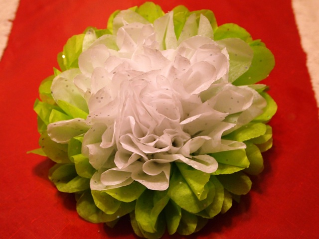 Completed Tissue Paper Flower Ornament