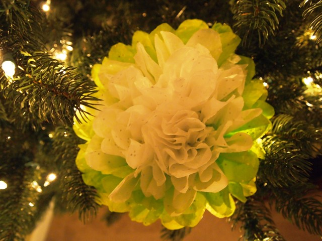 Tissue Paper Flower Ornament Attached to Christmas Tree With Floral Wire