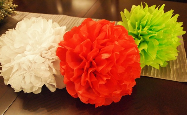 Tissue Paper Flower Ornaments in Rose and Poinsettia Shapes