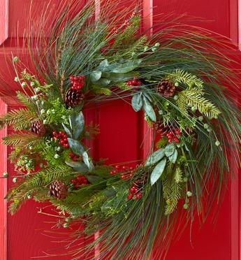 Pine Wreath Hanging on a Front Door