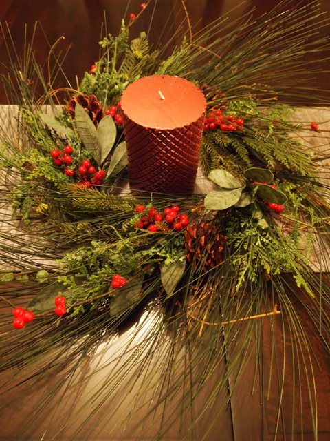 Pine Wreath Used as a Centerpiece