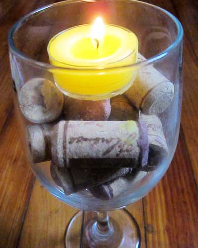 Simple Wine Cork Centerpiece From Celebrations.com