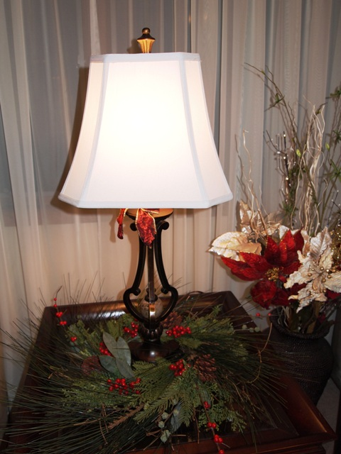 Table Lamp Decorated With a Pine Wreath