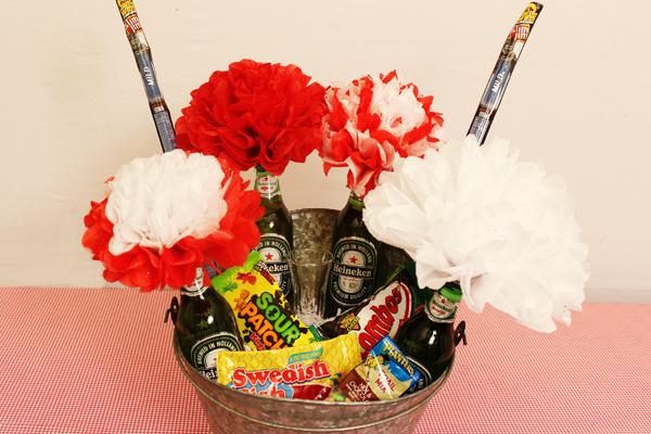 beer flower arrangement filled with snacks