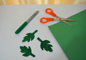 Rose Leaves Cut out of Construction Paper
