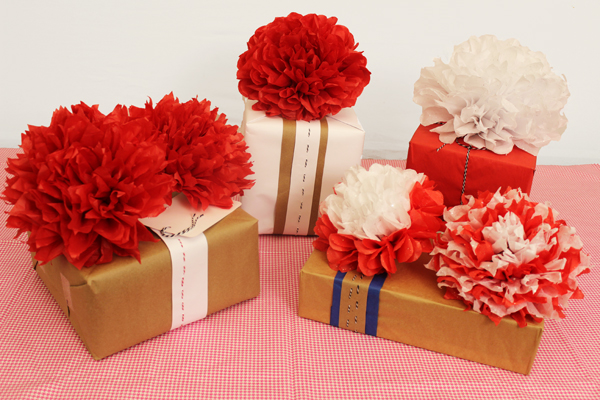 Tissue Paper Flowers Used as Gift Bows
