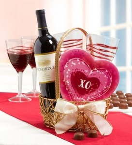 Wine & Chocolate Romance for 2 Gift Basket