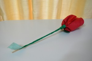 Wooden Skewer Wrapped With Green Tape to Create a Rose Stem