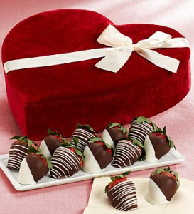 Chocolate Strawberries in Velvet Heart Box
