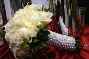 White Bridal Bouquet With Pearl and Crystal Accents