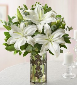 Easter Lilies With Cross Vase