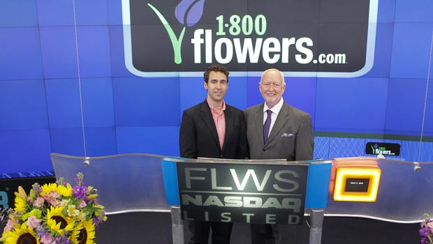 1-800-Flowers CEO Jim McCann and Brian Brewer of the Cancer Research Insitute at NASDAQ on 5-7-13 for Mother's Day