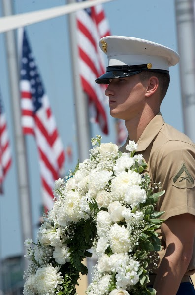 US Marine Soldier Holds 1-800-Flowers Wreath During USS Intrepid's Annual Memorial Day Ceremony