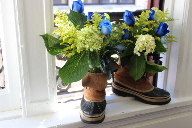 Father's Day DIY Construction Boot Bouquet