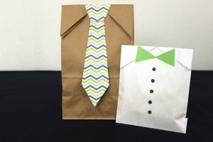 Father's Day Gift Bags Decorated With Paper Ties and Buttons