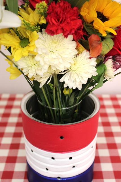 Flowers Placed in a DIY 4th of July Vase