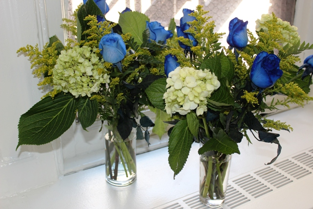 Flowers Separated into Two Vases for Father's Day Construction Boot Bouquet