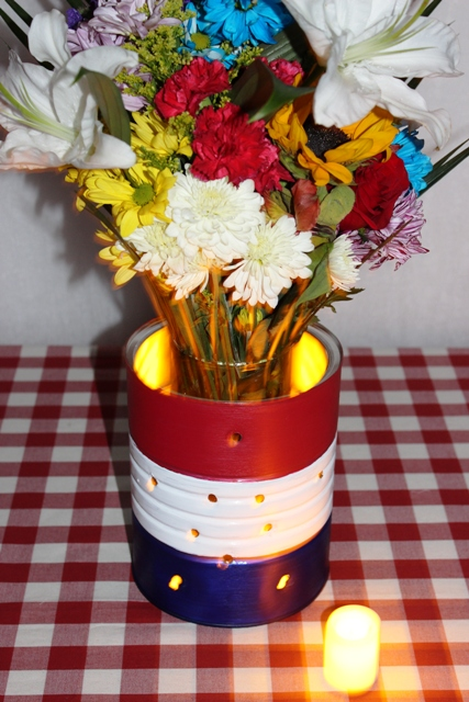 LED Tealights Placed in a DIY 4th of July Luminary Vase