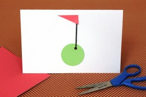 Red Cardstock Flag Cut out and Glued on Golf Father's Day Card