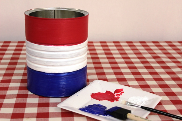 Red, White and Blue Stripes Painted on a Coffee Can to Make a 4th of July DIY Vase
