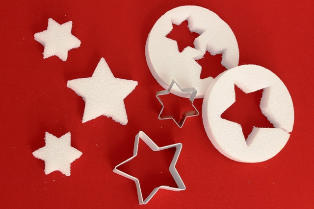 Stars Cut out From Styrofoam Disks