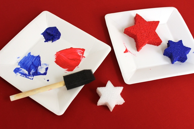 Styrofoam Stars Painted Red and Blue With Acrylic Paint