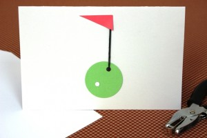 White Hole Punch Glued on Cardstock to Make Golf Ball for Golf Father's Day Card