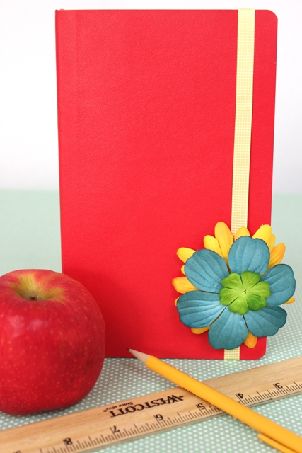 Back to School Notebook Decorated With Flowers