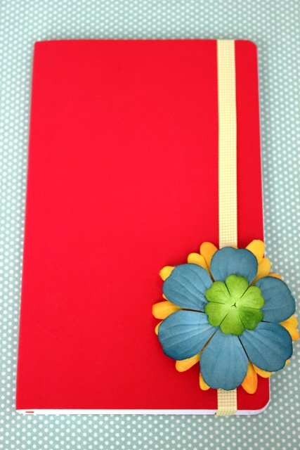 Back to School Notebook Decorated with Flowers and Ribbon