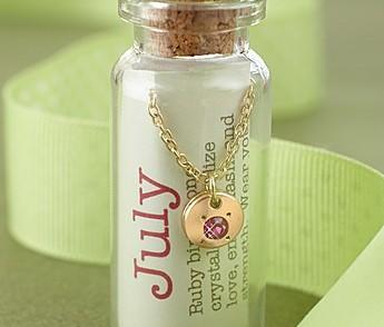 July Birthstone Bottle Necklace